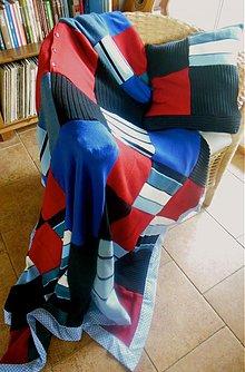 Úžitkový textil - Svetrová prikrývka modro červená - 4028862_