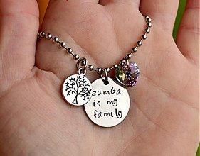 Náhrdelníky - ZUMBA IS MY FAMILY náhrdelník so swarovski - 4035177_