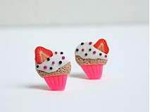 Náušnice - cupcake neon - 4037451_