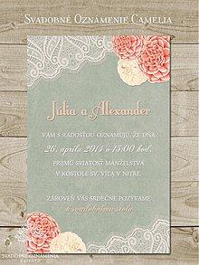 Papiernictvo - Svadobné oznámenie Camelia - 4037289_