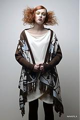 Iné oblečenie - retro pončo REVOL s vyplétanými portréty - 4039141_
