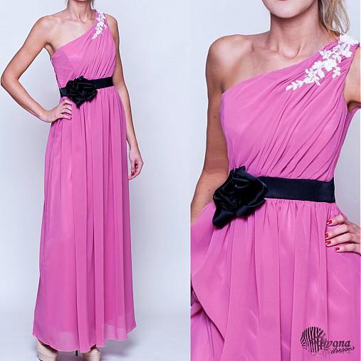 Šifónové spoločenské šaty na jedno plece rôzne farby   Dyona - SAShE ... bc78cae6bb9