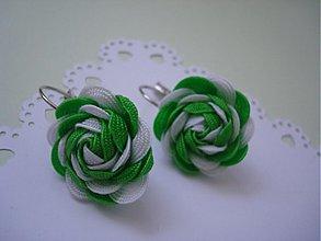 Náušnice - Náušnice bielo-zelené - 4044922_