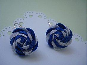 Náušnice - Náušnice modro-biele - 4044938_