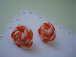 Náušnice - Náušnice oranžovo-biele - 4044966_