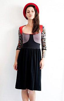 Šaty - Šaty s leopardími 3/4 rukávmi - 4048249_