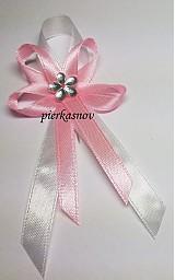 Svadobné pierko stredné ružové so strieborným kvietkom