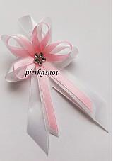 svadobné pierko veľké ružové so strieborným kamienkom