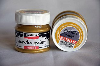 Farby-laky - Metalická akrylová farba , antická zlatá - 4054238_