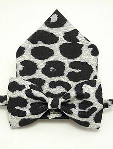 Doplnky - Motýlik a vreckovka Parketový leopard - 4054510_