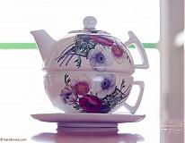Nádoby - Čajník so šálkou veľký - veternice-anemónky - 4057355_