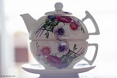 Nádoby - Čajník so šálkou veľký - veternice-anemónky - 4057359_