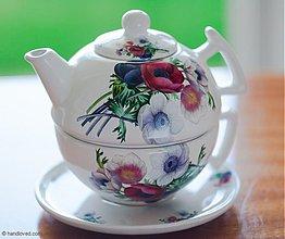 Nádoby - Čajník so šálkou veľký - veternice-anemónky - 4057357_