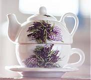 Nádoby - Čajník so šálkou malý - Levanduľa - 4059123_