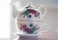 Nádoby - Čajník so šálkou malý - anemónky - 4061389_