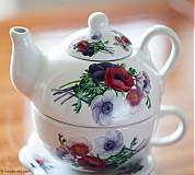 Nádoby - Čajník so šálkou malý - anemónky - 4061390_