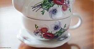 Nádoby - Čajník so šálkou malý - anemónky - 4061391_
