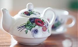 Nádoby - Čajník so šálkou malý - anemónky - 4061392_
