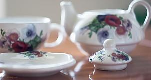 Nádoby - Čajník so šálkou malý - anemónky - 4061393_