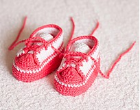 Topánočky - háčkované tenisôčky ružové - 4065438_