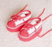 Topánočky - háčkované tenisôčky ružové - 4065440_