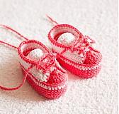 Topánočky - háčkované tenisôčky ružové - 4065441_