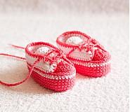 Topánočky - háčkované tenisôčky ružové - 4065442_