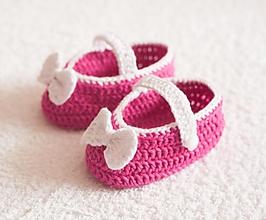 Topánočky - háčkované balerínky - 4065386_