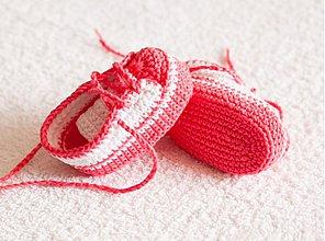 Topánočky - háčkované tenisôčky ružové - 4065439_