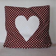 Úžitkový textil - Obliečka Šumivé srdce - vínová s bodkami - 4067767_