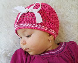Detské čiapky - Letná cyklámenová... - 4069809_