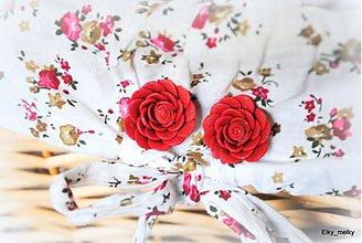 Náušnice - Bordové ružičky - 4070263_