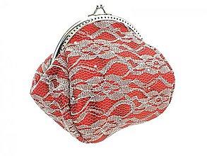 Taštičky - Čipková červená kabelka - taštička do ruky  0480 - 4072130_