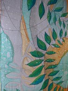 Šály - BLATT - ručne maľovaná hodvábna štóla. - 4069640_