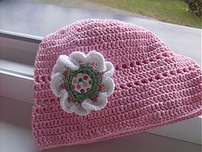 Detské čiapky - Ružová jarná čiapka - 4070885_