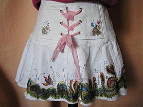 Sukne - folk-romantická riflovka/cena za maľbu - 4071565_