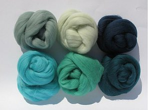 Textil - Merino vlna na plstenie - mentol-tyrkys sada 60 g - 4069535_