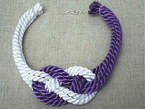 Náhrdelníky - Náhrdelník uzol bielo-fialový - 4070023_