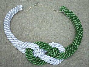 Náhrdelníky - Náhrdelník uzol bielo-zelený - 4070029_