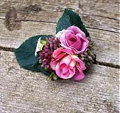 Ozdoby do vlasov - Ružové ružičky - sponka - 4071131_