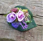 Ozdoby do vlasov - Fialové ružičky - sponka - 4071219_