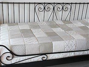 Úžitkový textil - Prehoz, vankúš patchwork vzor smotanková, deka 220x200 cm - 4073831_