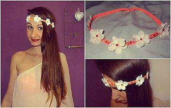 Ozdoby do vlasov - Romantická čelenka na neonóvej gumičke - 4072442_