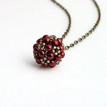 Náhrdelníky - Perličkový bordový - 4073286_
