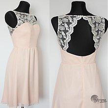 Šaty - Koktejlové šaty zo šifónu s luxusnou krajkou a holým chrbátom rôzne farby - 4072794_