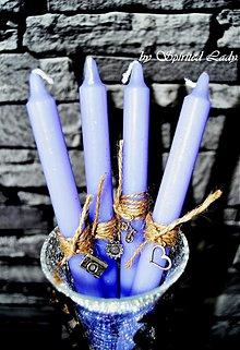 Svietidlá a sviečky - Sviečka á la shabby fialová set 4ks - 4084628_