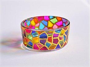 "Svietidlá a sviečky - Maľovaný svietnik ""Mozaika I."" - 4087386_"