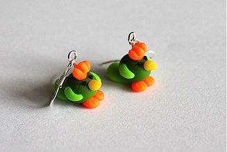 Náušnice - Vtáčiky - zelené - 4087116_