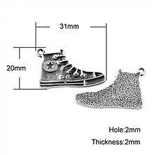 Komponenty - teniska/ ant.stříbro/ 32x20mm/ 1ks - 4088964_