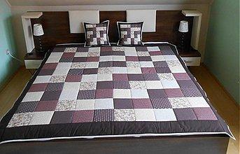 Úžitkový textil - svadobný dar patchwork deka 140x200 alebo 220x220 čokoladovo bežová - 4089423_